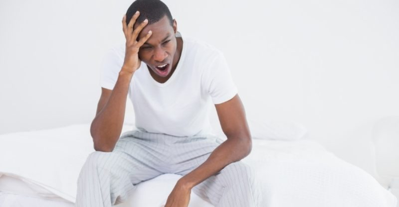 African American Nan Yawning Tired