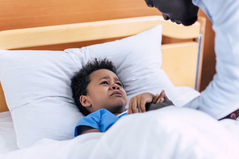 My Child Is Having Trouble Sleeping: Crying African American Boy Cant sleep