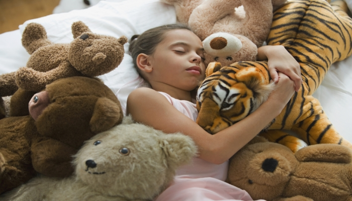 Little Girl Sleeping with Stuffed Animals